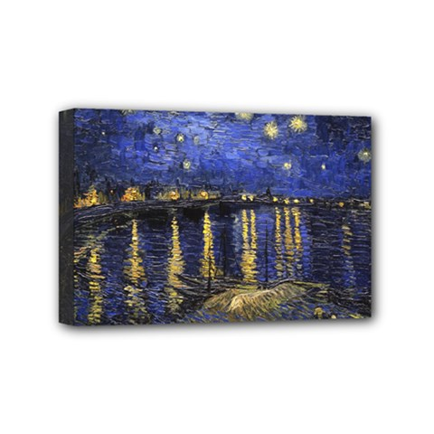 Vincent Van Gogh Starry Night Over The Rhone Mini Canvas 6  X 4  (framed)