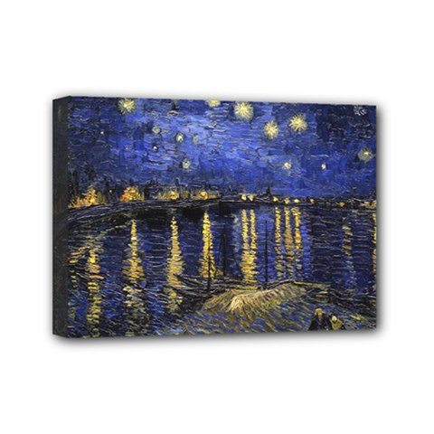 Vincent Van Gogh Starry Night Over The Rhone Mini Canvas 7  X 5  (framed)