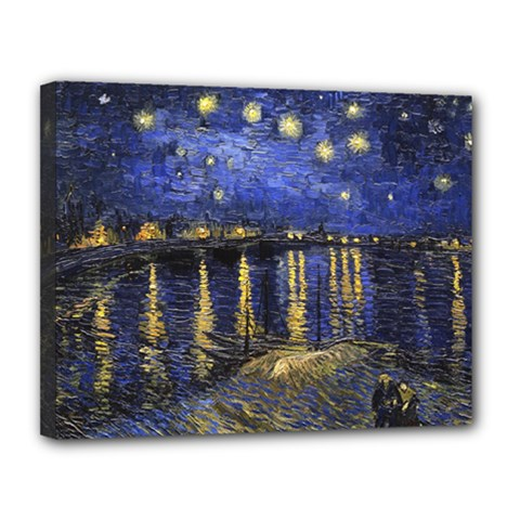 Vincent Van Gogh Starry Night Over The Rhone Canvas 14  x 11  (Framed)