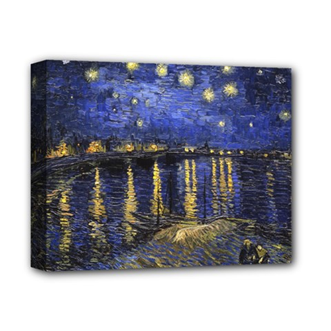 Vincent Van Gogh Starry Night Over The Rhone Deluxe Canvas 14  x 11  (Framed)