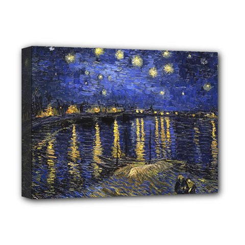 Vincent Van Gogh Starry Night Over The Rhone Deluxe Canvas 16  X 12  (framed)