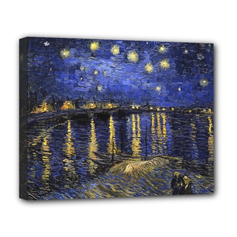 Vincent Van Gogh Starry Night Over The Rhone Deluxe Canvas 20  x 16  (Framed)