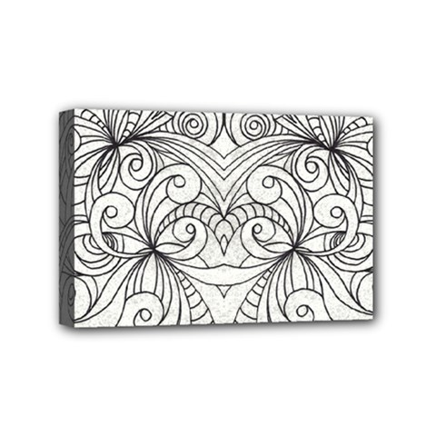 Drawing Floral Doodle 1 Mini Canvas 6  x 4  (Framed)