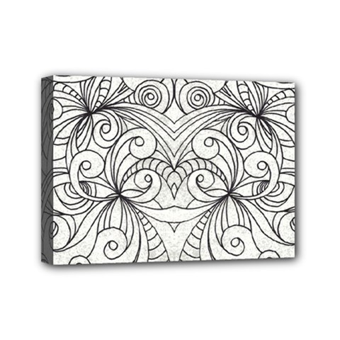 Drawing Floral Doodle 1 Mini Canvas 7  X 5  (framed)