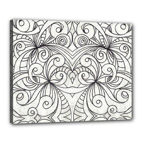 Drawing Floral Doodle 1 Canvas 20  x 16  (Framed)