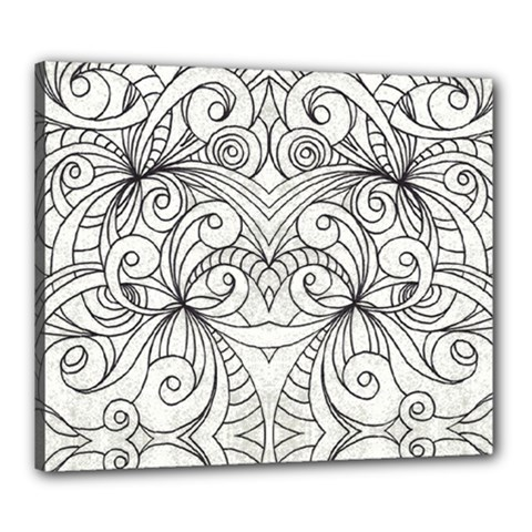 Drawing Floral Doodle 1 Canvas 24  x 20  (Framed)
