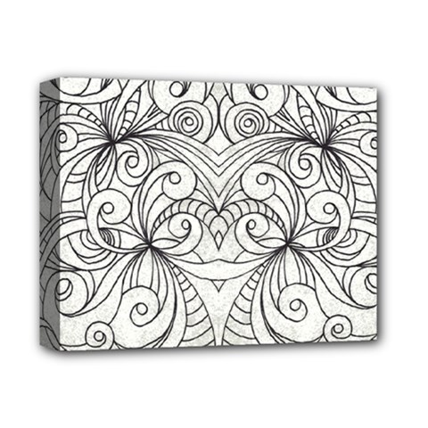 Drawing Floral Doodle 1 Deluxe Canvas 14  x 11  (Framed)