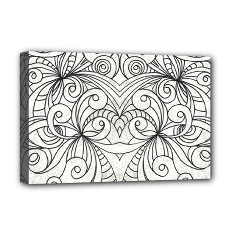 Drawing Floral Doodle 1 Deluxe Canvas 18  x 12  (Framed)