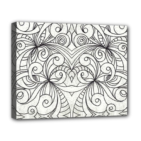 Drawing Floral Doodle 1 Deluxe Canvas 20  X 16  (framed)