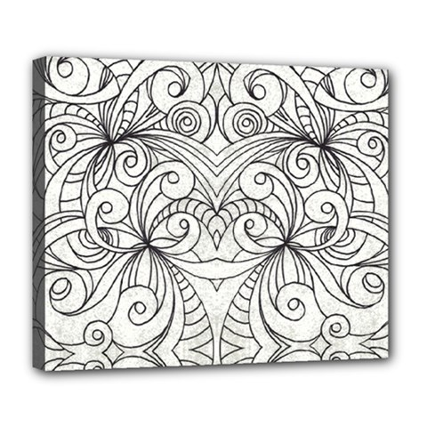Drawing Floral Doodle 1 Deluxe Canvas 24  X 20  (framed)