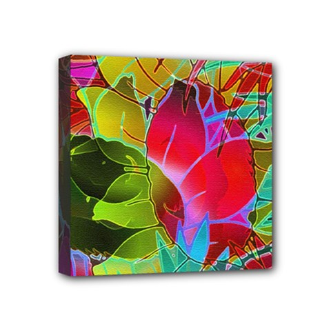 Floral Abstract 1 Mini Canvas 4  x 4  (Framed)