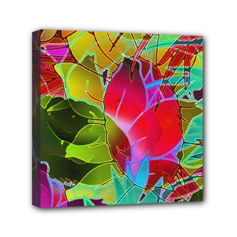 Floral Abstract 1 Mini Canvas 6  x 6  (Framed)