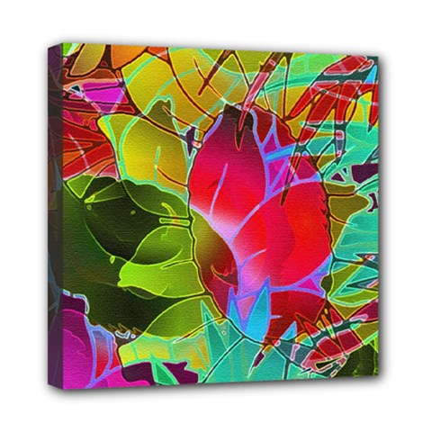 Floral Abstract 1 Mini Canvas 8  x 8  (Framed)