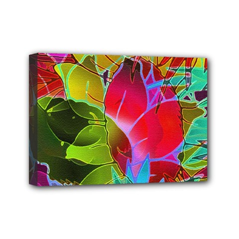 Floral Abstract 1 Mini Canvas 7  x 5  (Framed)