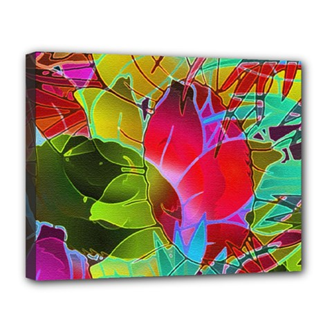 Floral Abstract 1 Canvas 14  x 11  (Framed)