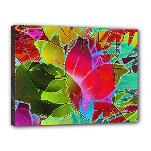 Floral Abstract 1 Canvas 16  X 12  (framed)