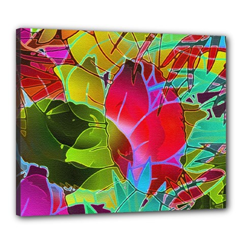 Floral Abstract 1 Canvas 24  X 20  (framed)