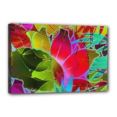 Floral Abstract 1 Canvas 18  x 12  (Framed)