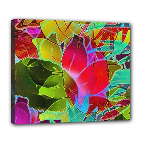 Floral Abstract 1 Deluxe Canvas 24  x 20  (Framed)