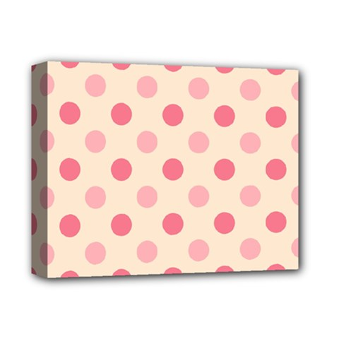 Pale Pink Polka Dots Deluxe Canvas 14  x 11  (Framed)