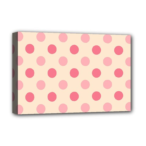 Pale Pink Polka Dots Deluxe Canvas 18  X 12  (framed)