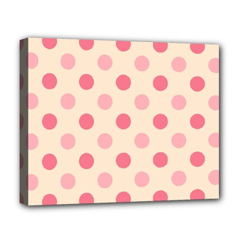 Pale Pink Polka Dots Deluxe Canvas 20  X 16  (framed)
