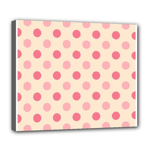 Pale Pink Polka Dots Deluxe Canvas 24  x 20  (Framed)
