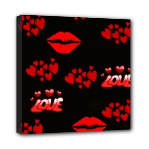 Love Red Hearts Love Flowers Art Mini Canvas 8  X 8  (framed)