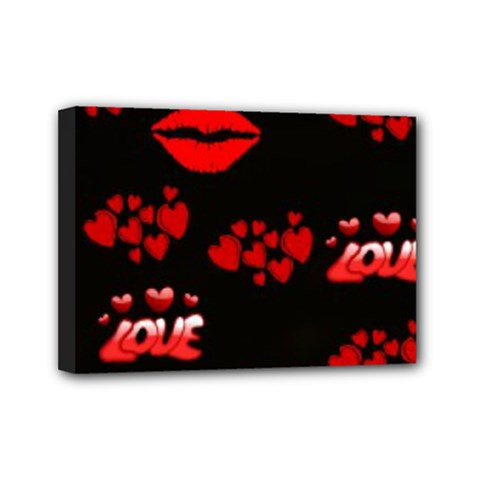 Love Red Hearts Love Flowers Art Mini Canvas 7  x 5  (Framed)