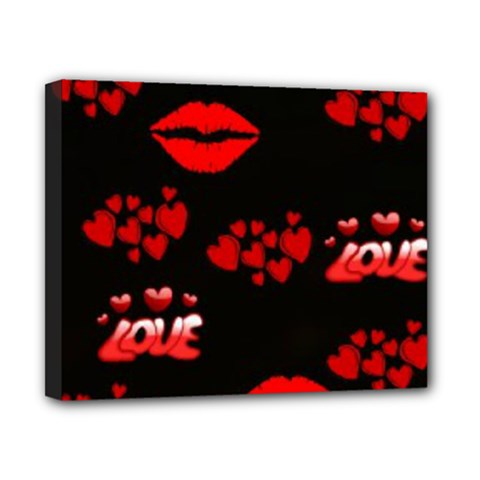 Love Red Hearts Love Flowers Art Canvas 10  X 8  (framed)