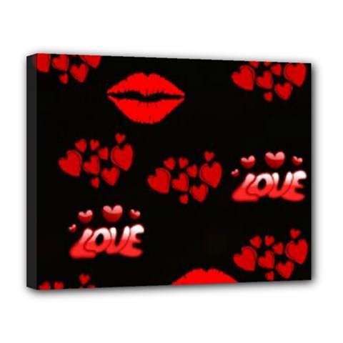 Love Red Hearts Love Flowers Art Canvas 14  X 11  (framed)