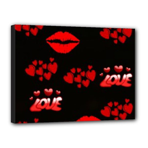 Love Red Hearts Love Flowers Art Canvas 16  X 12  (framed)