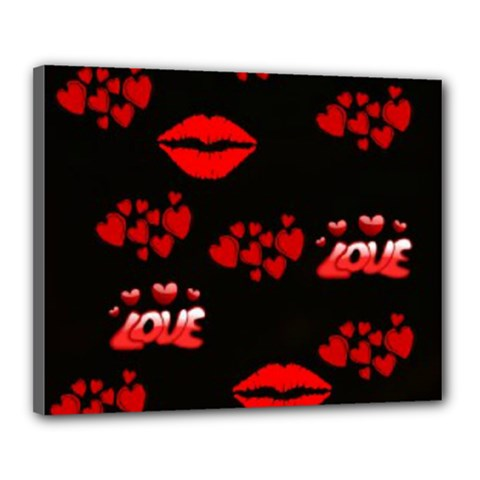 Love Red Hearts Love Flowers Art Canvas 20  x 16  (Framed)