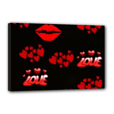 Love Red Hearts Love Flowers Art Canvas 18  x 12  (Framed)