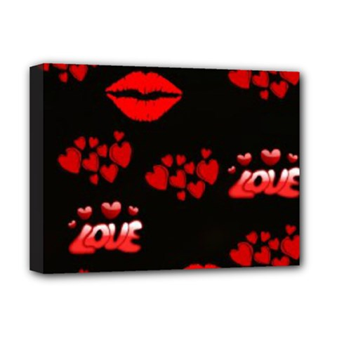 Love Red Hearts Love Flowers Art Deluxe Canvas 16  x 12  (Framed)