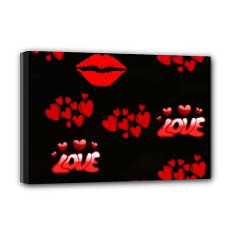 Love Red Hearts Love Flowers Art Deluxe Canvas 18  x 12  (Framed)