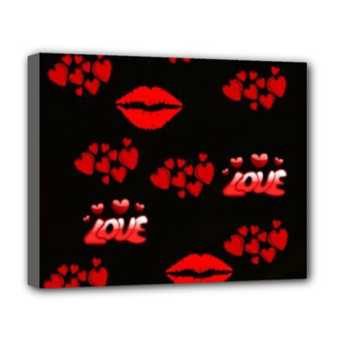 Love Red Hearts Love Flowers Art Deluxe Canvas 20  x 16  (Framed)