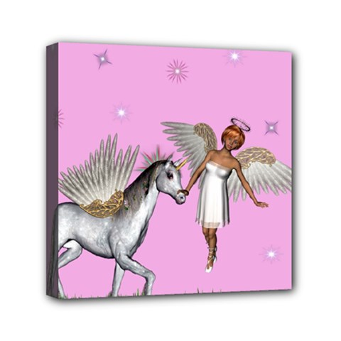 Unicorn And Fairy In A Grass Field And Sparkles Mini Canvas 6  x 6  (Framed)