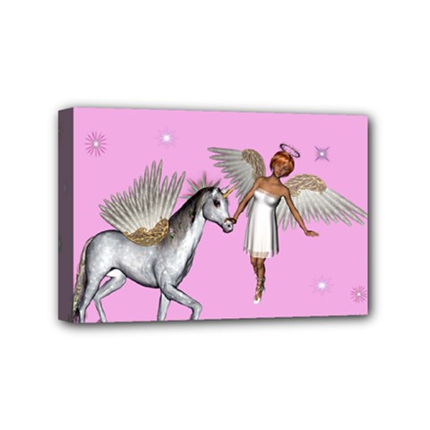 Unicorn And Fairy In A Grass Field And Sparkles Mini Canvas 6  x 4  (Framed)