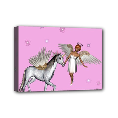 Unicorn And Fairy In A Grass Field And Sparkles Mini Canvas 7  X 5  (framed)
