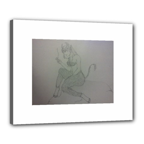 Smoke Break Satyr Canvas 20  X 16  (framed)