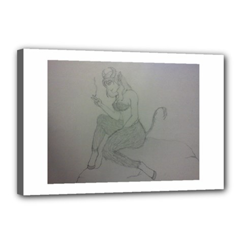 Smoke Break Satyr Canvas 18  x 12  (Framed)