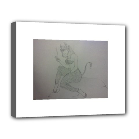 Smoke Break Satyr Deluxe Canvas 20  X 16  (framed)