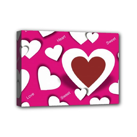 Valentine Hearts  Mini Canvas 7  X 5  (framed)