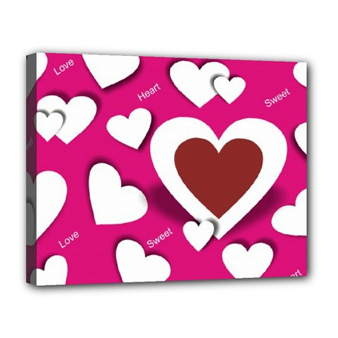 Valentine Hearts  Canvas 14  X 11  (framed)