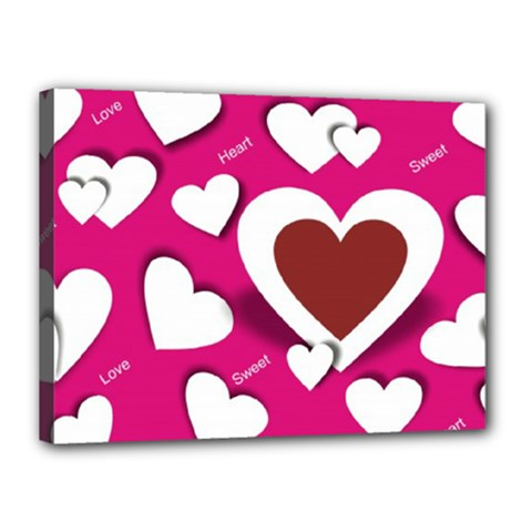 Valentine Hearts  Canvas 16  x 12  (Framed)