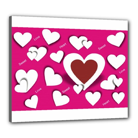 Valentine Hearts  Canvas 24  x 20  (Framed)