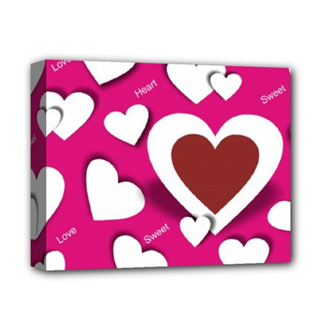 Valentine Hearts  Deluxe Canvas 14  x 11  (Framed)