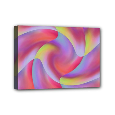 Colored Swirls Mini Canvas 7  x 5  (Framed)