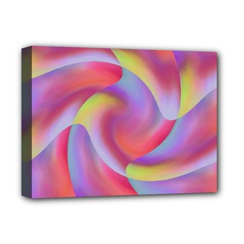 Colored Swirls Deluxe Canvas 16  X 12  (framed)